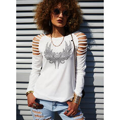 Print Sequins Heart Cold Shoulder Long Sleeves Casual Blouses