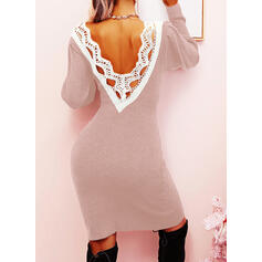 Lace/Solid/Backless Long Sleeves Bodycon Above Knee Casual/Elegant Sweater Dresses