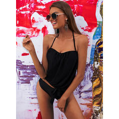 Solid Color Bandeau Strapless Sexy Plus Size Tankinis Swimsuits