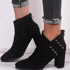 Women's Suede Chunky Heel Ankle Boots Heels Pointed Toe With Zipper Solid Color shoes