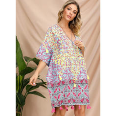 Embroidery/Print 1/2 Sleeves Shift Above Knee Casual/Boho/Vacation Dresses