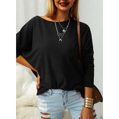 Solid Round Neck Long Sleeves Batwing Sleeves T-shirts