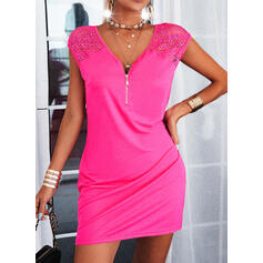 Lace/Solid Cap Sleeve Bodycon Above Knee Casual Dresses