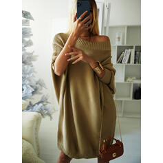 Solid Ribbed Round Neck Casual Long Sweater Dress