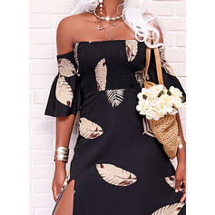 Print Short Sleeves A-line Skater Casual/Vacation Maxi Dresses
