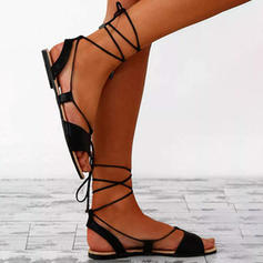 Women's PU Flat Heel Sandals With Lace-up shoes