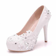 Women's Leatherette Spool Heel Closed Toe Pumps With Applique Crystal