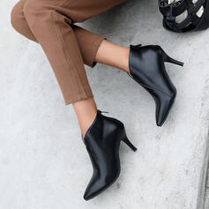 Women's PU Stiletto Heel Ankle Boots Pointed Toe With Solid Color shoes
