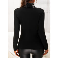 Sequins High Neck Long Sleeves Casual Blouses