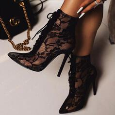 Women's Mesh Stiletto Heel Pumps With Stitching Lace Lace-up shoes
