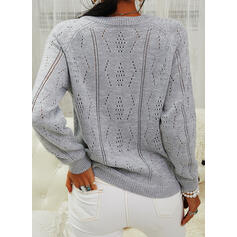 Solid Round Neck Casual Cardigan