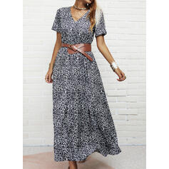 Leopard Short Sleeves A-line Skater Casual Maxi Dresses