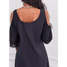Solid Lace 1/2 Sleeves Cold Shoulder Sleeve Shift Knee Length Little Black/Casual Tunic Dresses