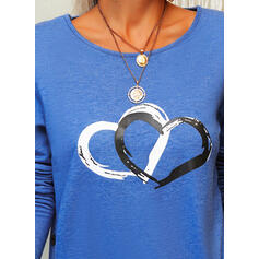 Print Heart Round Neck Long Sleeves Button Up Casual Blouses