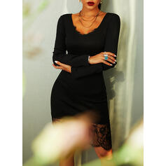 Lace/Solid Long Sleeves Bodycon Knee Length Little Black/Party/Elegant Pencil Dresses