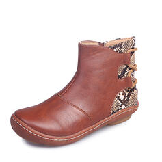Women's Leatherette Flat Heel Ankle Boots With Solid Color Embroidery shoes