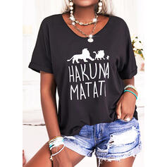 Animal Print Letter Round Neck Short Sleeves T-shirts