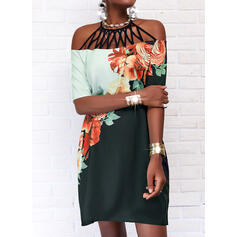 Print/Floral/Color Block 1/2 Sleeves Shift Knee Length Casual Tunic Dresses