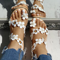 Women's PU Flat Heel Sandals With Flower shoes