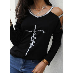 Sequins Letter Cold Shoulder Long Sleeves Casual Sexy Blouses
