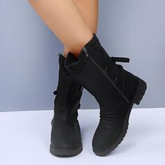 Women's Leatherette Low Heel Boots With Lace-up shoes