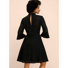 Lace/Solid 3/4 Sleeves/Flare Sleeves A-line Knee Length Little Black/Casual/Elegant Dresses