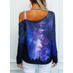 Print Sequins Forest One-Shoulder Long Sleeves Casual Blouses