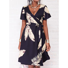 Print Short Sleeves A-line Knee Length Casual/Vacation Wrap/Skater Dresses