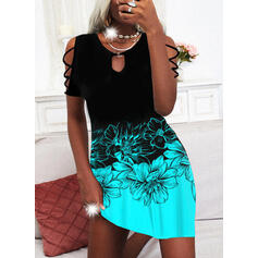 Print/Floral/Color Block Short Sleeves Shift Knee Length Casual/Vacation Tunic Dresses