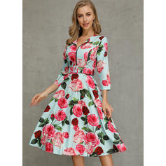 Floral 1/2 Sleeves A-line Skater Casual Midi Dresses