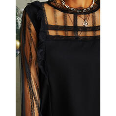 Lace/Solid Long Sleeves Shift Above Knee Little Black/Casual Dresses
