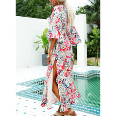 Print 3/4 Sleeves/Batwing Sleeves A-line Casual/Boho/Vacation Maxi Dresses