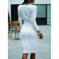 Solid Cable-knit Chunky knit V-Neck Casual Long Tight Sweater Dress