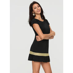 Striped Short Sleeves A-line Knee Length Little Black/Casual/Vacation Dresses