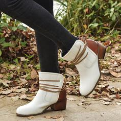 Women's PU Chunky Heel Pumps Closed Toe Boots Ankle Boots Low Top Round Toe With Lace-up Solid Color shoes