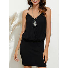 Solid Sleeveless Bodycon Above Knee Casual/Vacation Dresses
