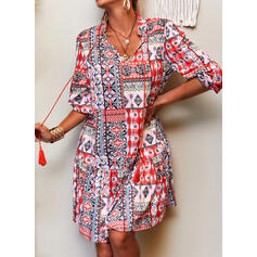 Print/Patchwork 3/4 Sleeves Shift Knee Length Casual/Boho/Vacation Tunic Dresses
