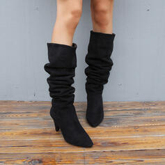 Women's Suede Cone Heel Mid-Calf Boots Pointed Toe With Ruched Solid Color shoes