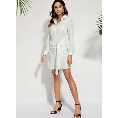 Solid Long Sleeves A-line Above Knee Casual Shirt Dresses