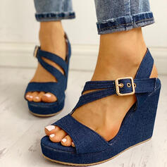 Women's Denim Wedge Heel Sandals Wedges Peep Toe With Buckle shoes