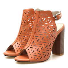 Women's PU Chunky Heel Peep Toe With Buckle shoes