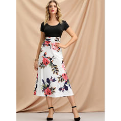 Print/Floral Short Sleeves A-line Casual/Party/Elegant/Boho/Vacation Midi Dresses