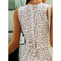 Print/Floral Sleeveless A-line Knee Length Casual Skater Dresses