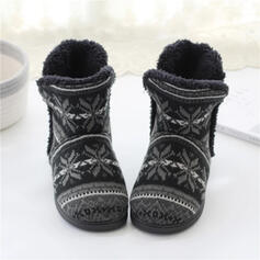 Women's Cloth Flat Heel Snow Boots Round Toe Winter Boots With Splice Color shoes