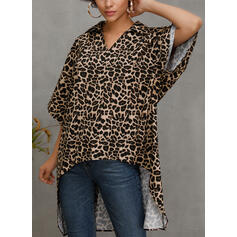 Leopard V-Neck 1/2 Sleeves Casual Blouses