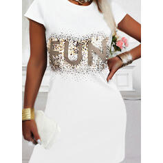 Print/Sequins/Letter Short Sleeves Shift Above Knee Casual T-shirt Dresses