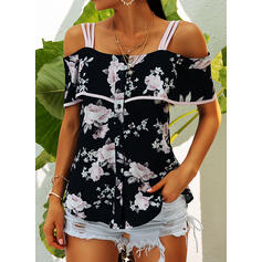 Print Floral Cold Shoulder Sleeveless Casual Blouses