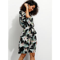 Print/Floral 1/2 Sleeves A-line Knee Length Casual/Boho/Vacation Wrap Dresses