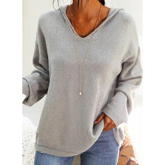 Solid Plain Hooded Casual Christmas Sweaters