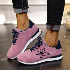 Women's Suede Flat Heel Flats Sneakers With Lace-up Splice Color shoes